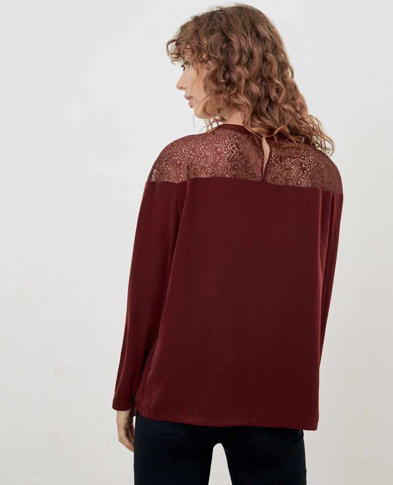 Satin and lace blouse Burgundy Dahalet