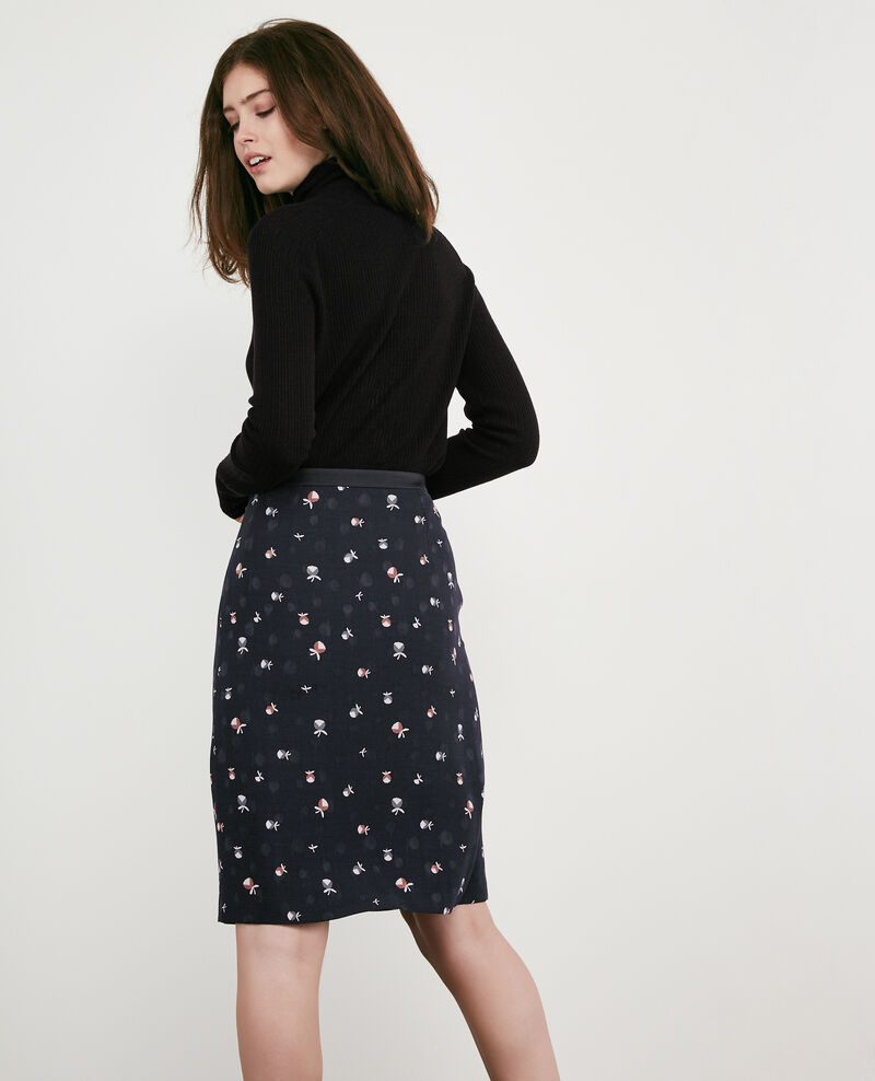 Printed skirt Pinecones dark navy Dickael