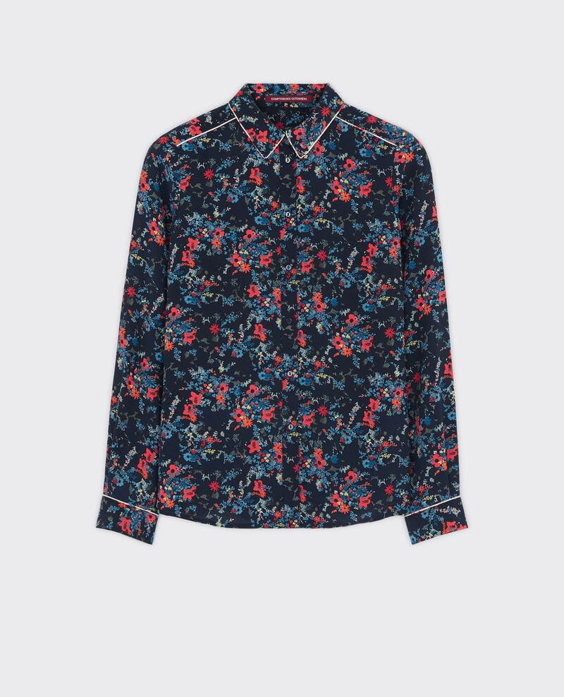 Silk print shirt Bouquet leaves dark navy Chifoumi