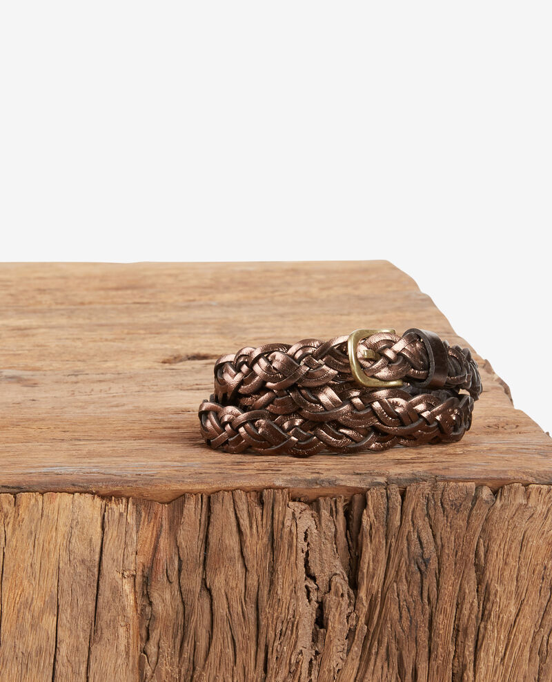 Braided leather belt MARRON CUIVRE