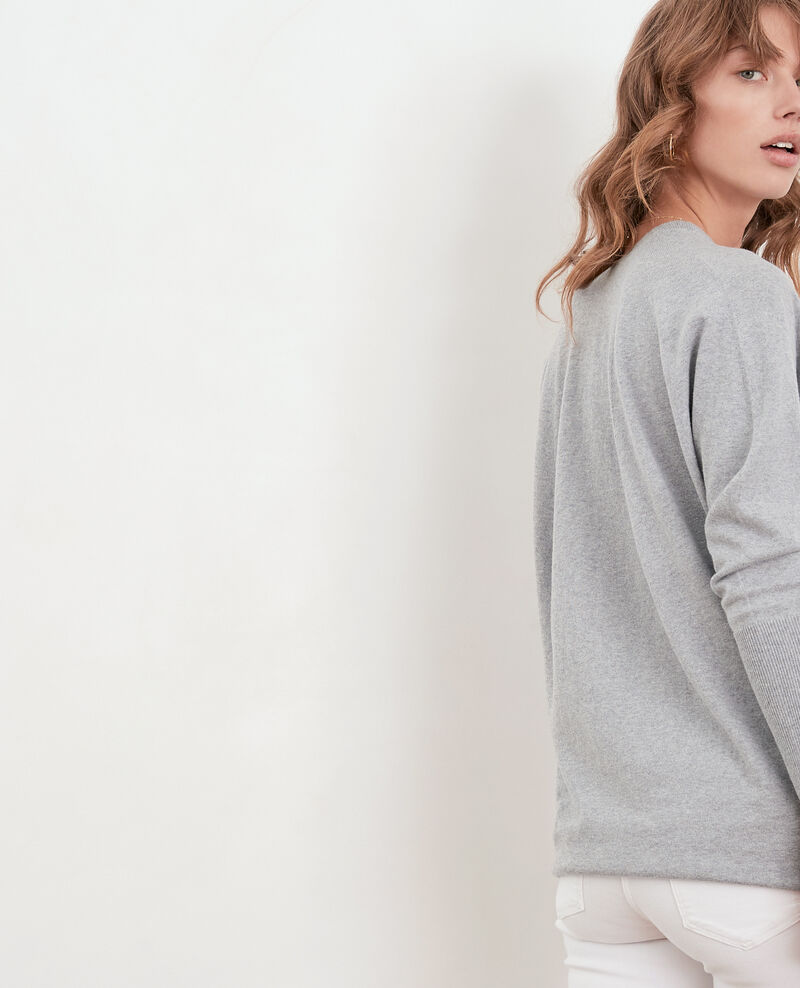 Oversize cotton and cashmere jumper Light grey Fervent