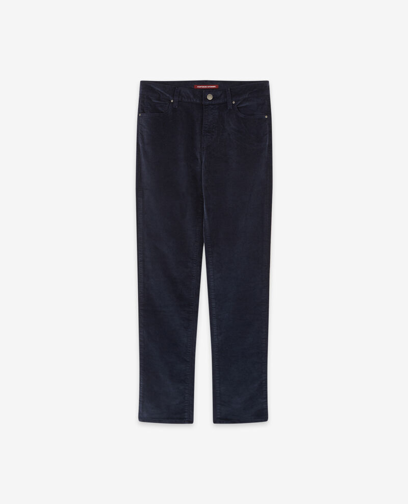 Stretch velvet cigarette pants Navy Decharpe