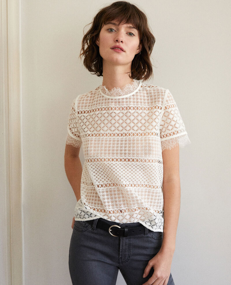 Openwork lace blouse OFF WHITE