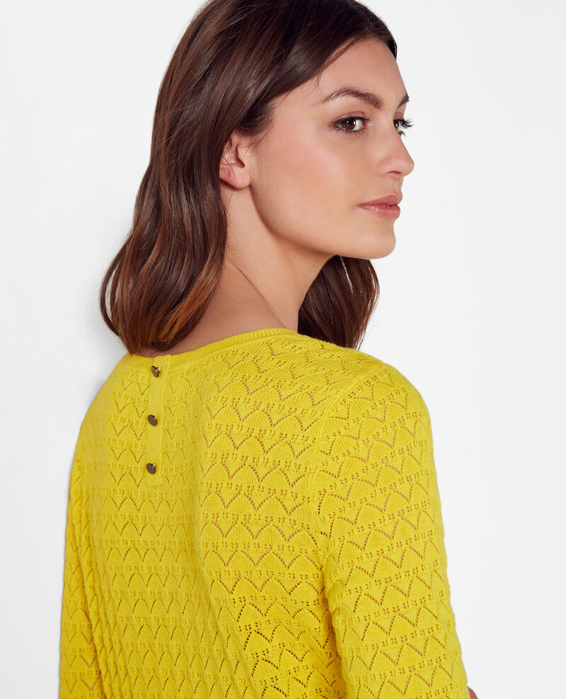 Openwork jumper with cashmere and trompe l'œil back Bouton d'or Cumin