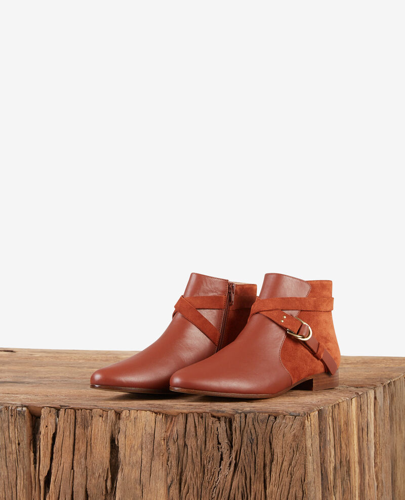 Leather panelled boots RUST
