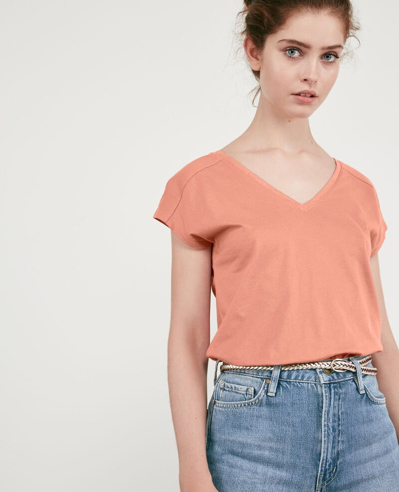 T-shirt with detail lurex inlay Rose clay Dactylo