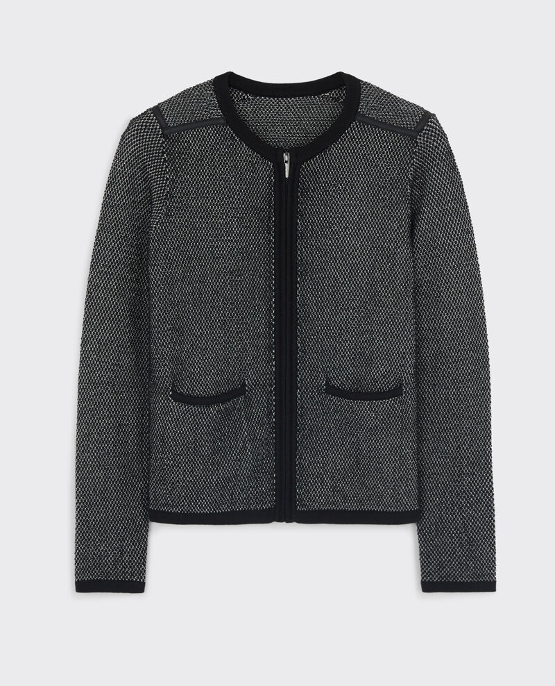 Zip-up cardigan with wool Noir/blanc/gris Chips