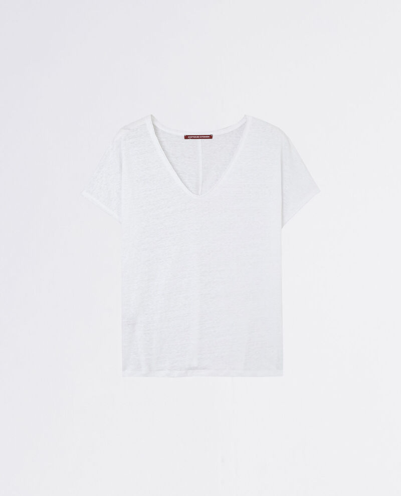 Linen t-shirt with lurex detail Blanc Canaille