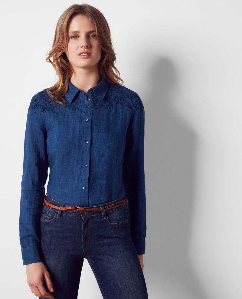 Linen shirt with embroidered details Indigo Chiquita