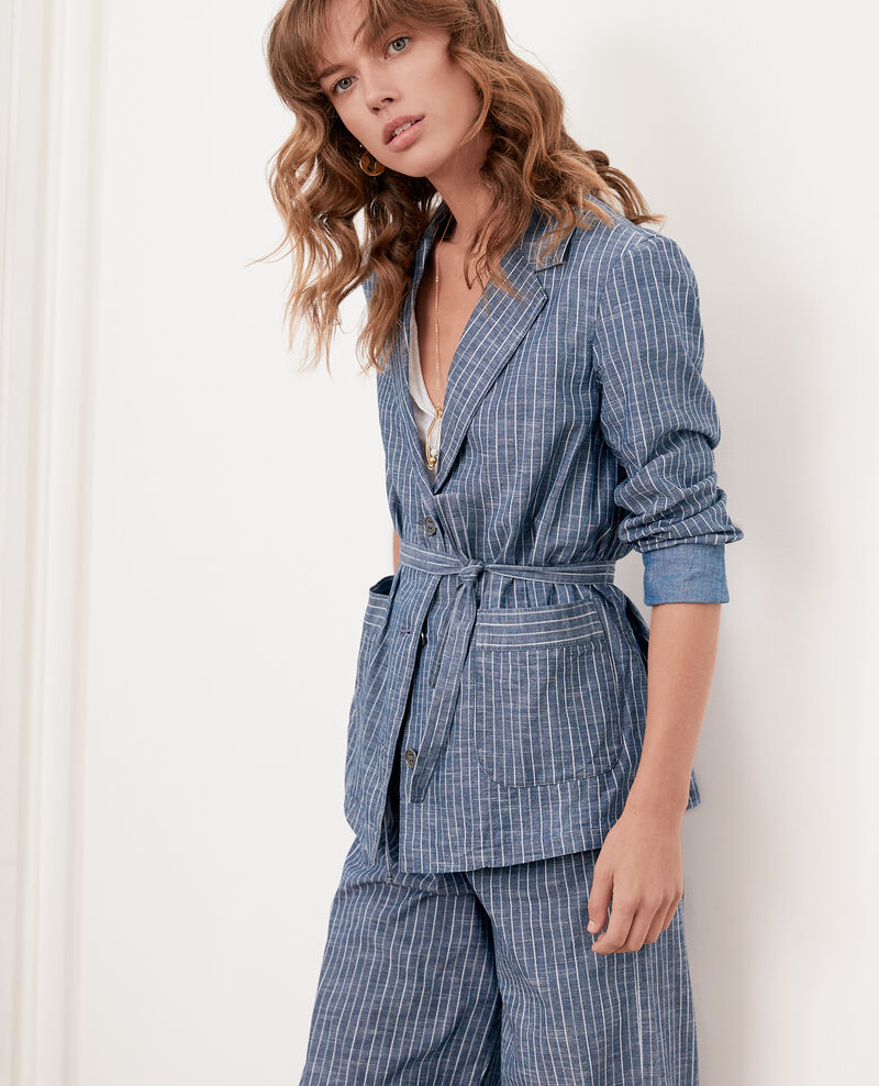 Soft shirt-style jacket INDIGO STRIPE