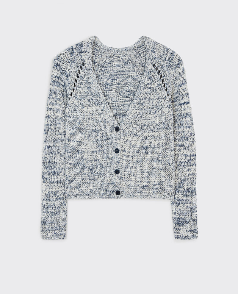 Marl-knit cardigan Ink blue Cobeyn