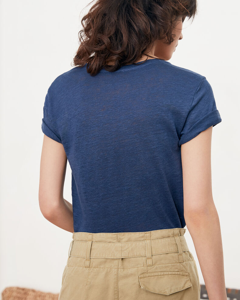 Embroidered Léon linen t-shirt Indigo/lollipop Folonga