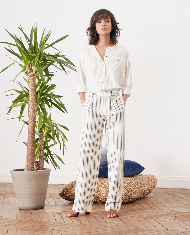 Striped wide leg trousers OFF WHITE/NAVY STRIPES