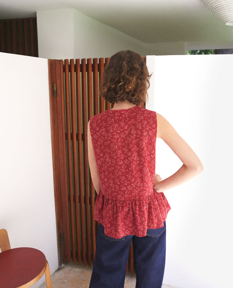 Sleeveless blouse Anthemis bloom rio red Gascon