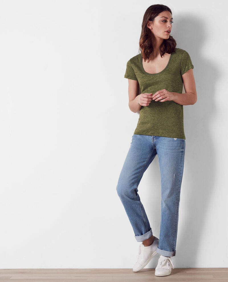 Linen t-shirt with embroidery detail Kaki/dark olive Carlton