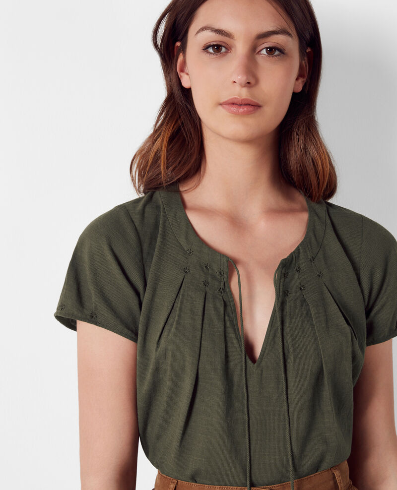 Frilly blouse with embroidery details Army Celcius