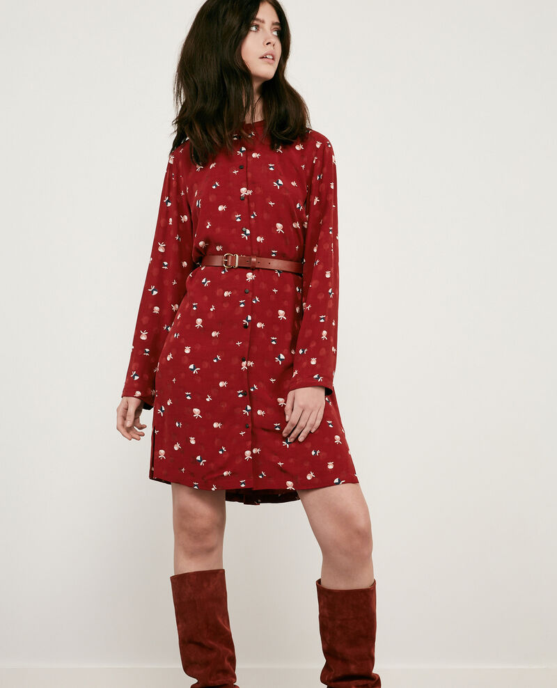 Printed shirt dress Pinecones devil Delgaudio