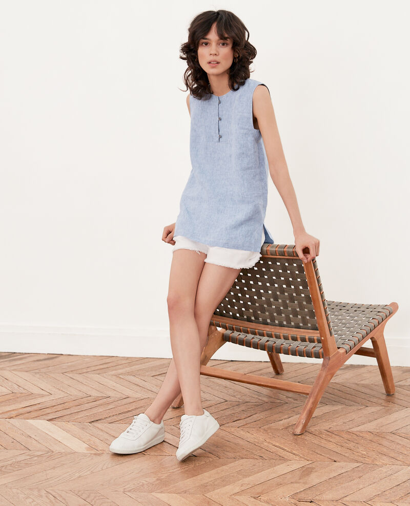Sleeveless linen top Azur Fauve