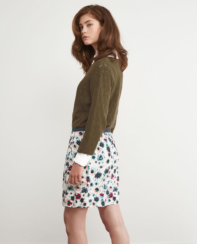 Printed skirt Poppies off white Darthur
