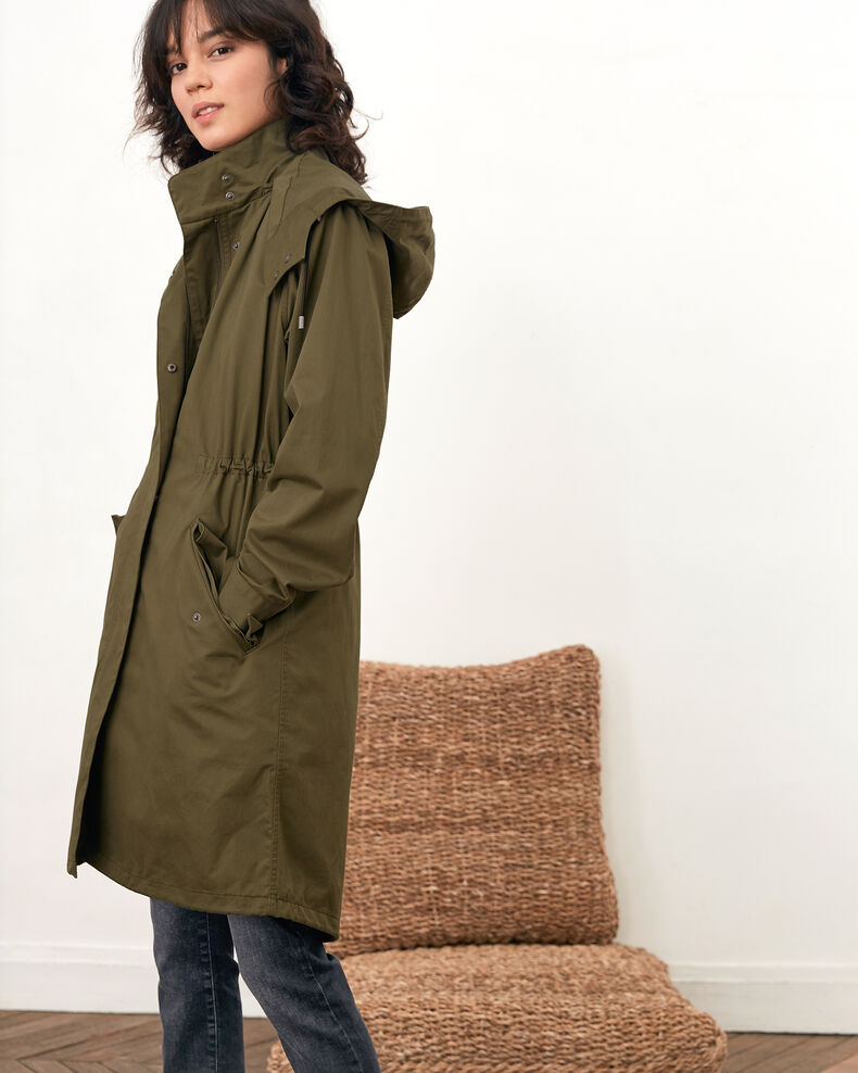 Parka with detachable hood and lining DARK KAKI