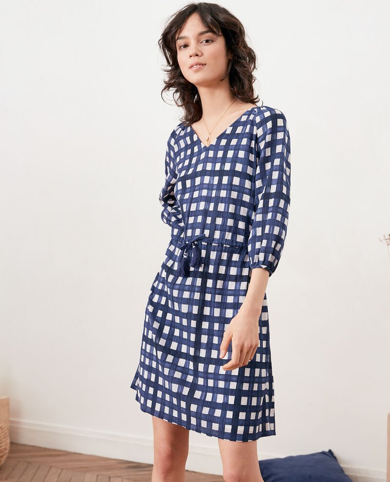 Printed dress Ghingham navy Fajitas