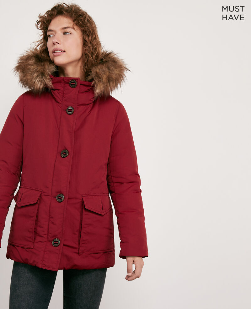 Down jacket with removable faux fur trim DEVIL