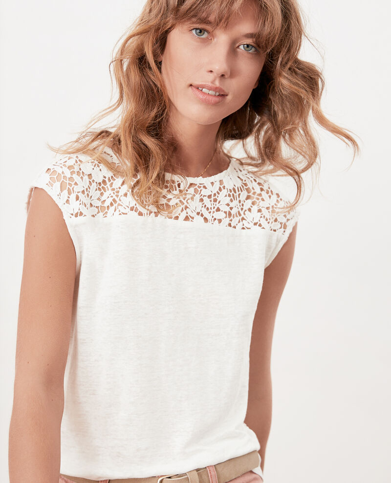 Linen t-shirt with lace back OFF WHITE