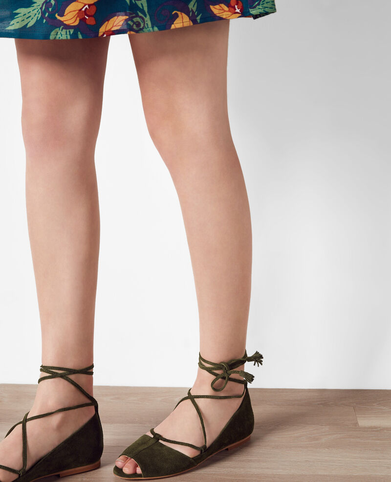 Flat, lace-up ballerina with open toe Veronese Cabaret