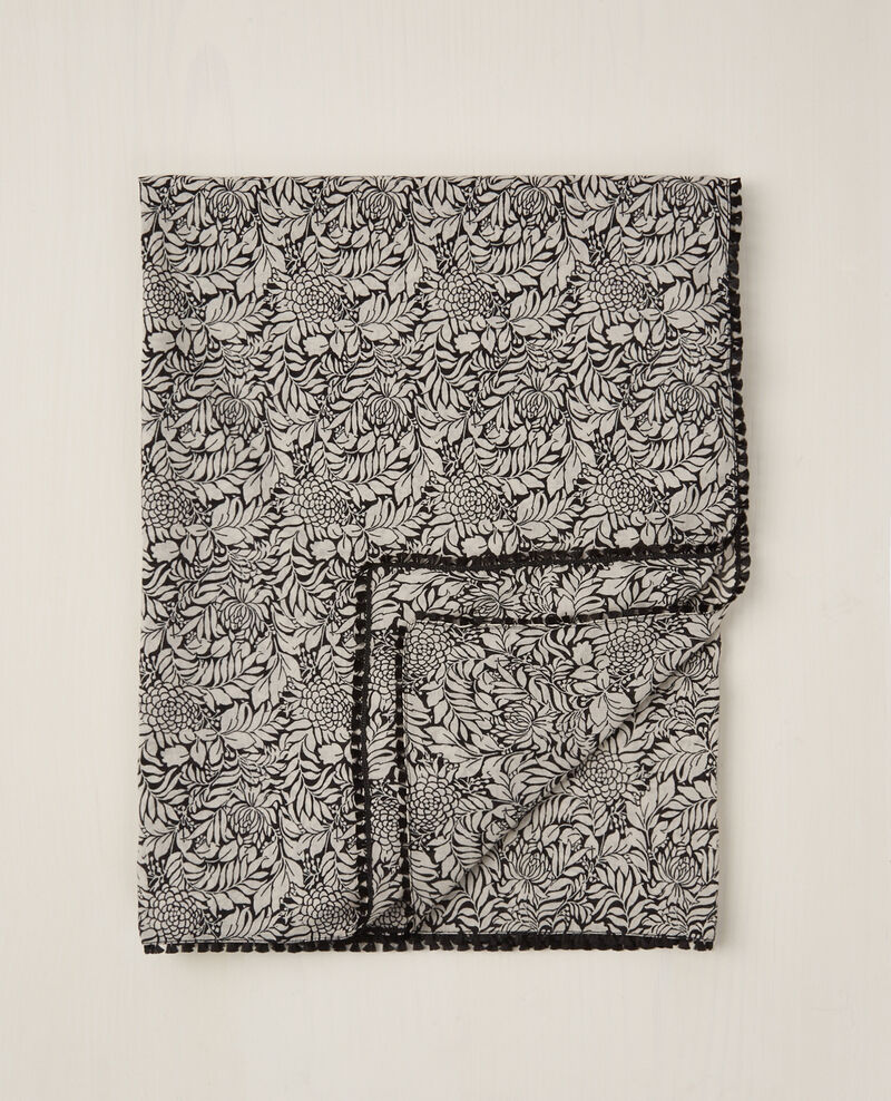 Square print scarf Poetry flowers peach Chene