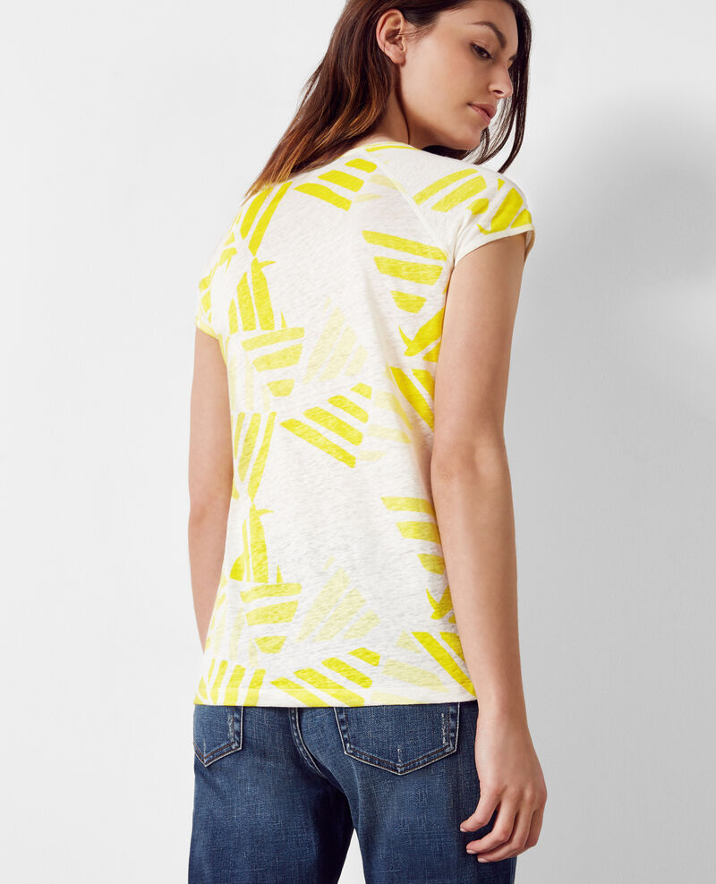 Linen print t-shirt Banana leaves bouton d'or Caspienne