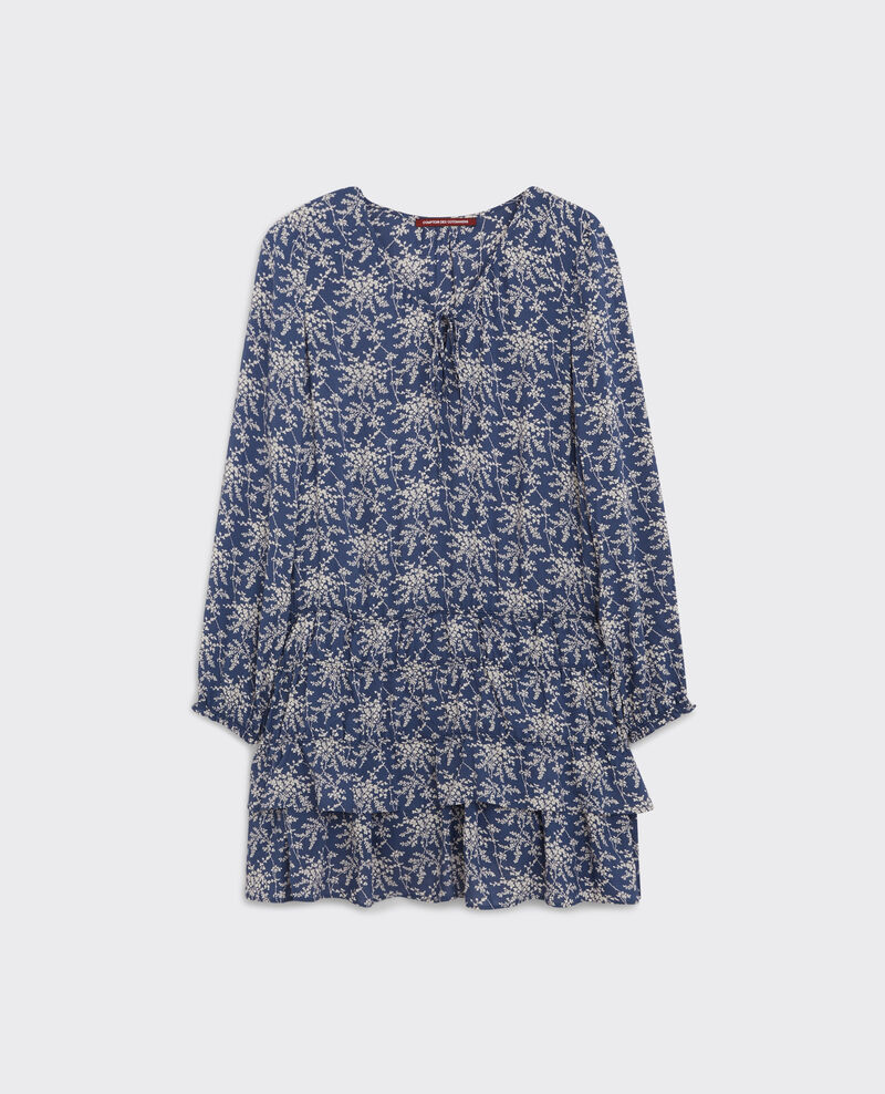Print dress with frill Romantic garden ink blue 9cachou
