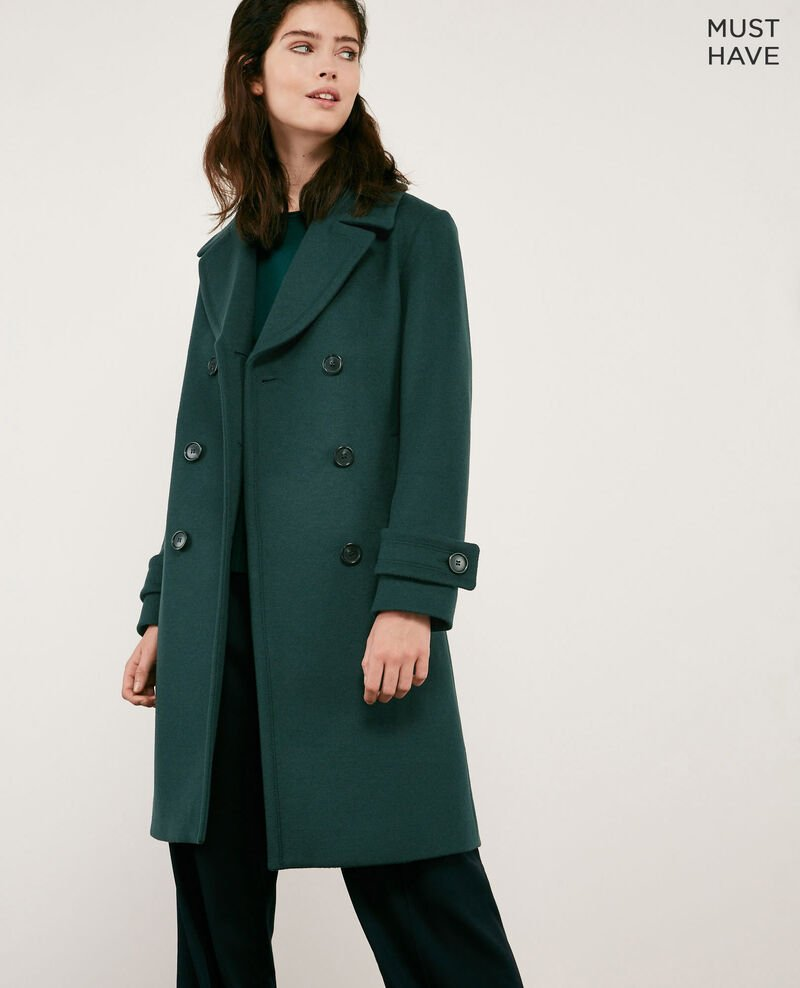 Wool blend pea coat DEEP GREEN