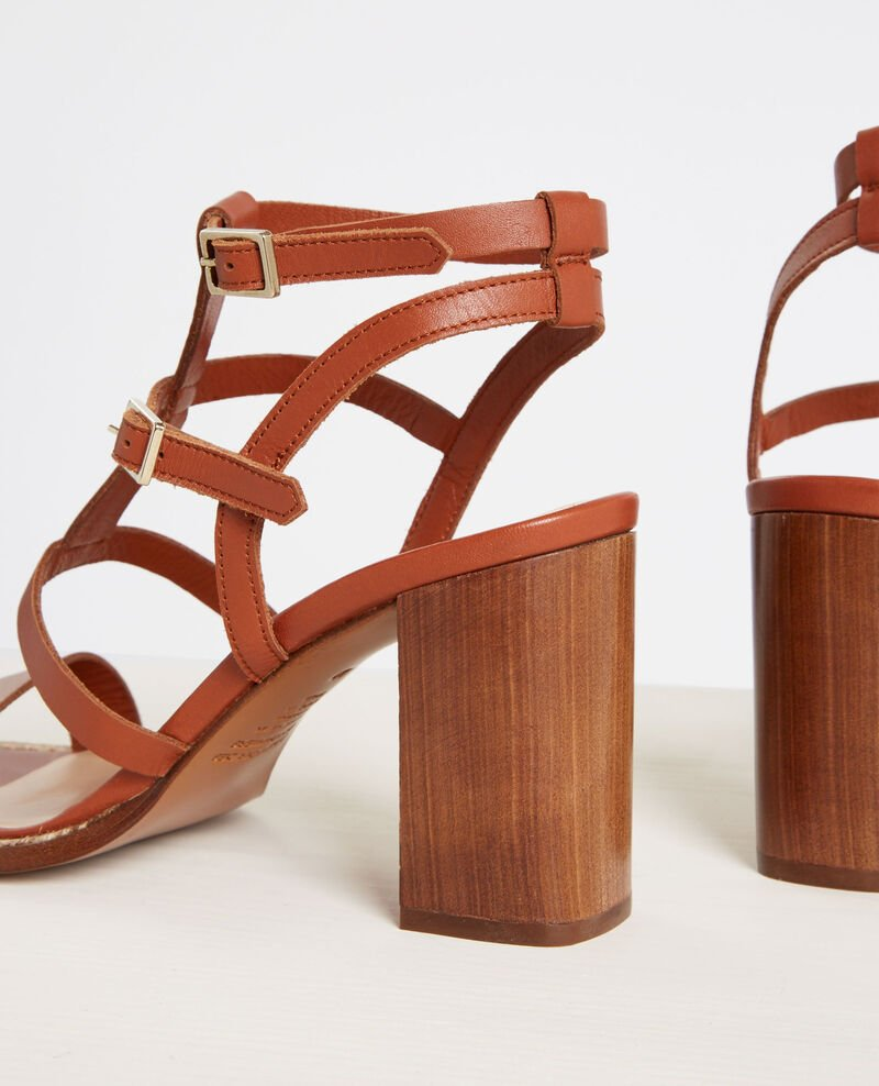 Leather high-heeled sandals with braid details Cognac Cafer