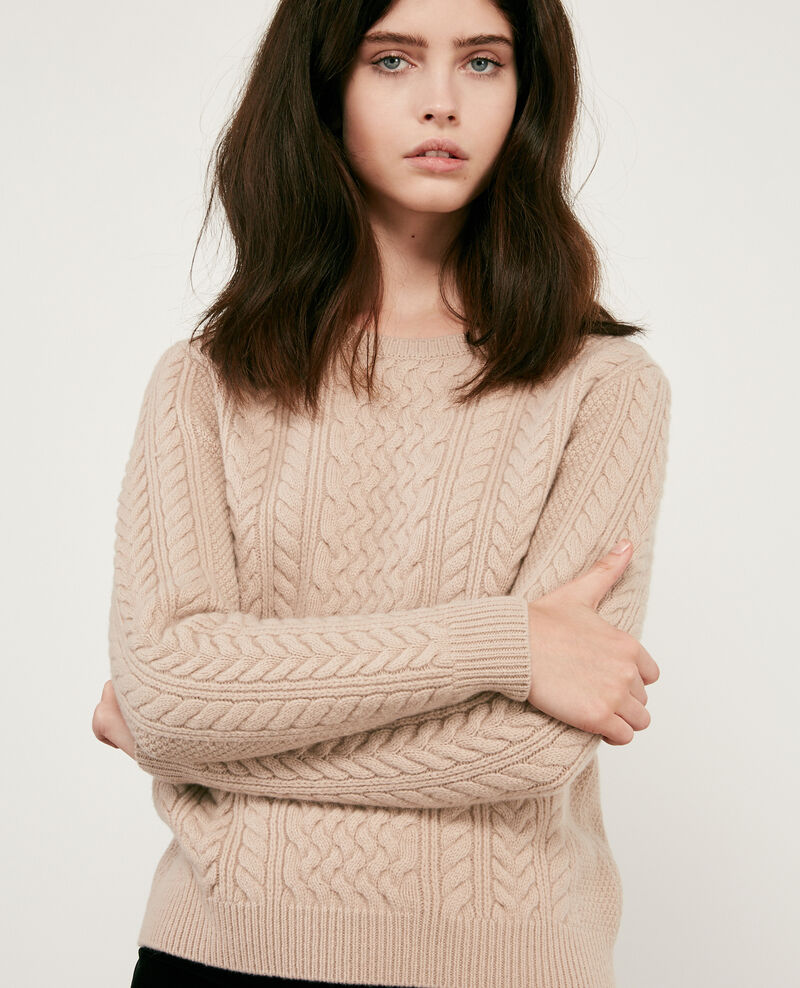 100% wool cable knit jumper Beige Dodger