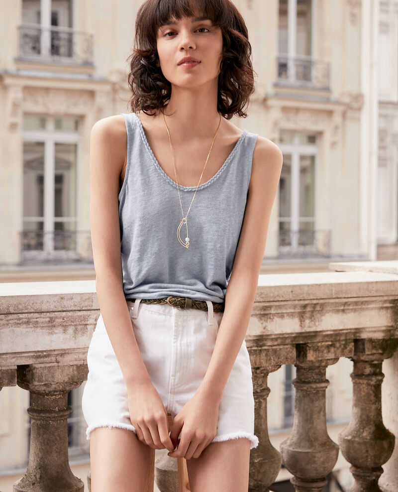 Linen vest top Washed blue Fagou