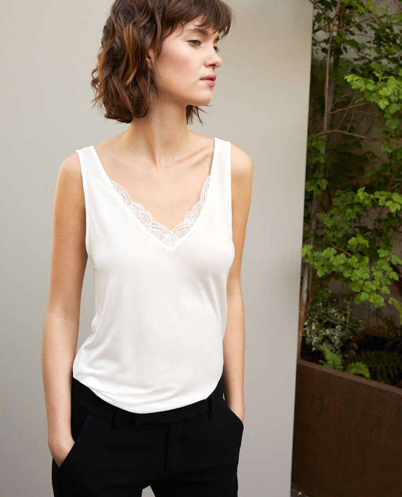 Vest top with lace Off white Gaia