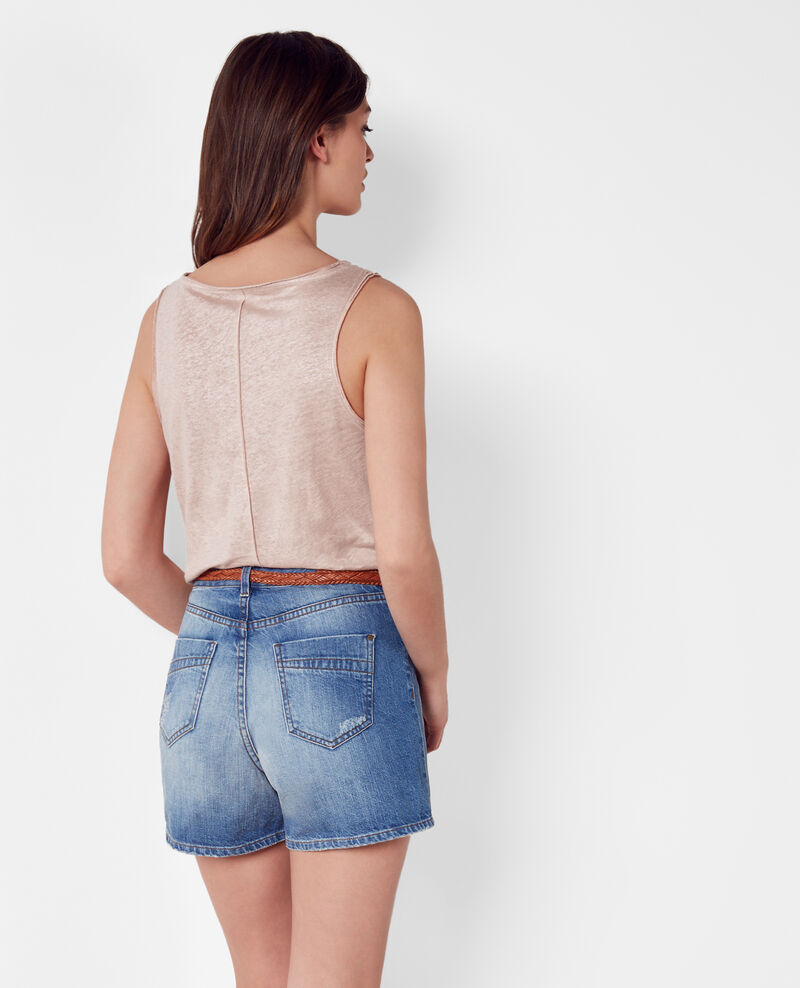 Iridescent linen tank top Peach Citrus