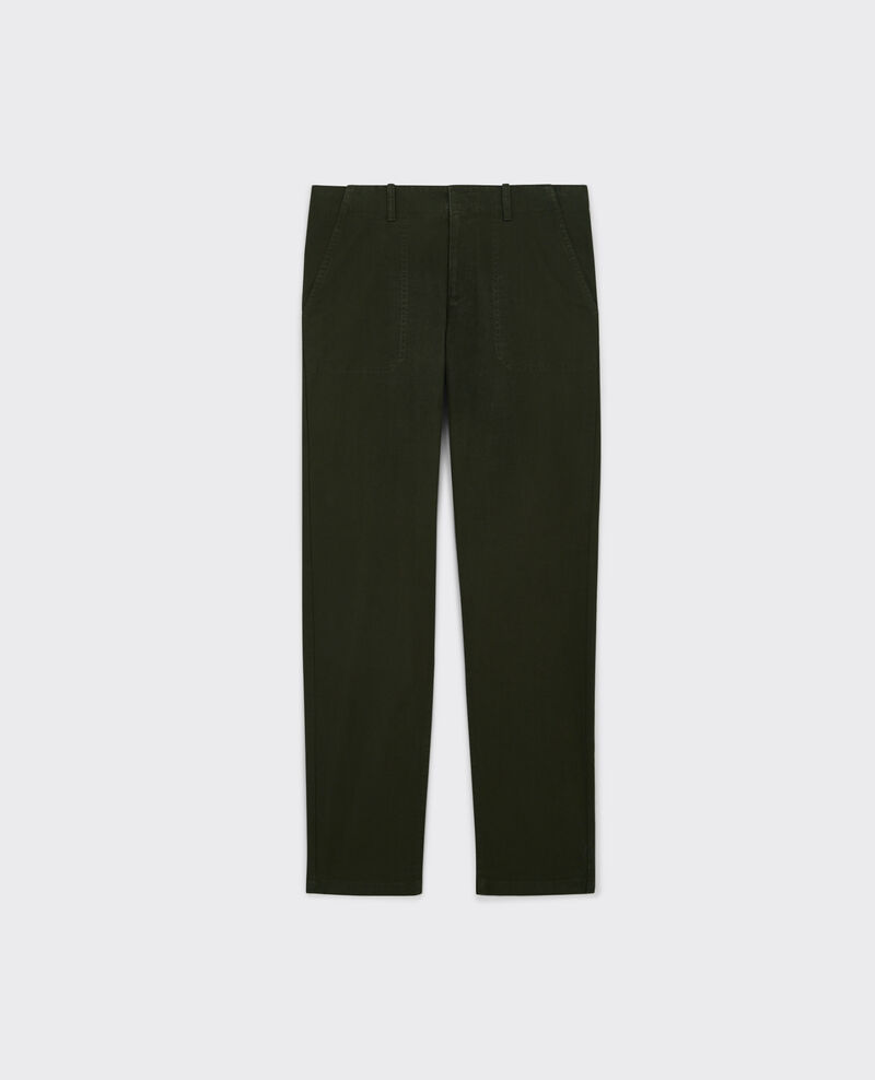 Chinos with cargo topstitching Black olive Catherine