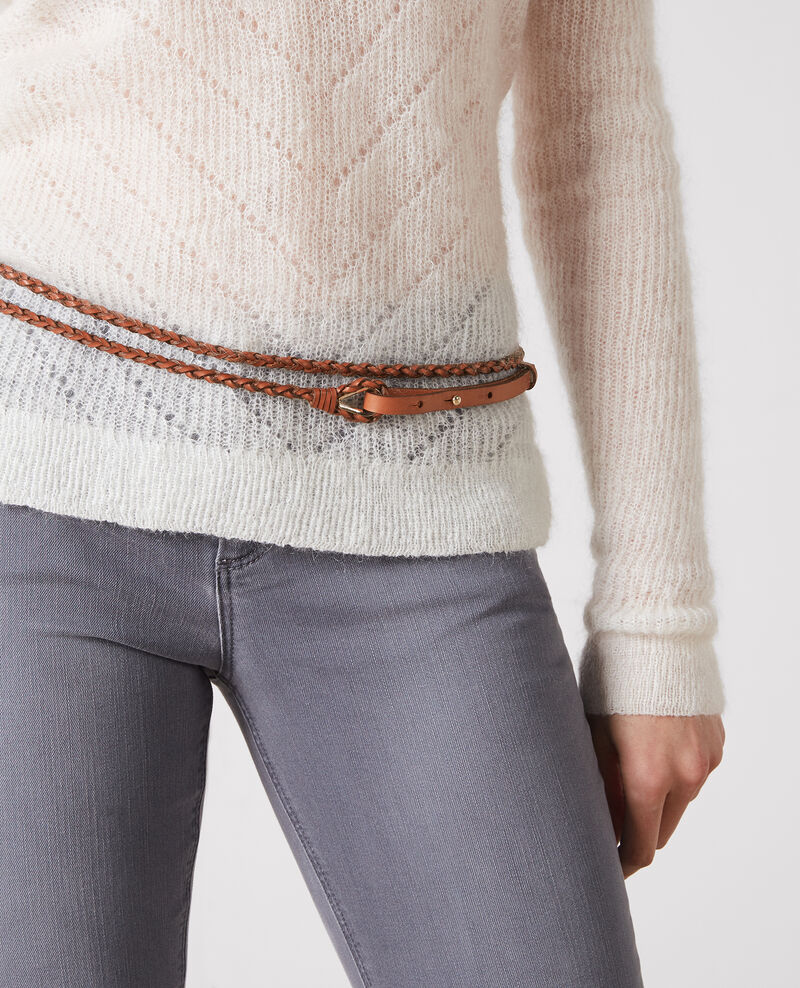 Thin braided leather double-wrap belt Platane Clean