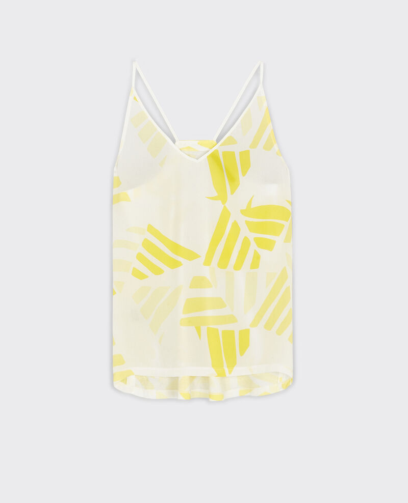 Dual-fabric cotton and silk print top Banana leaves bouton d'or Croissant