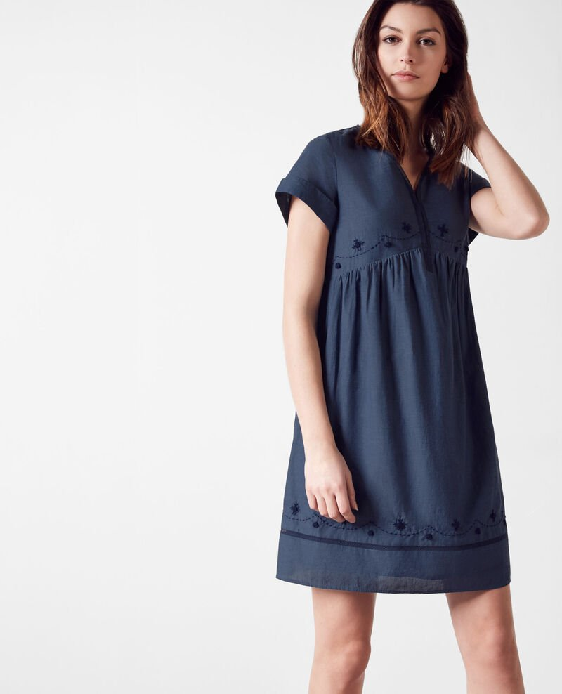 Dress with embroidery details Indigo Cassis