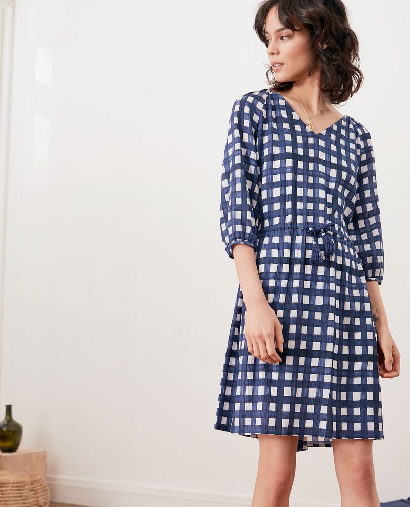 Printed dress GHINGHAM NAVY