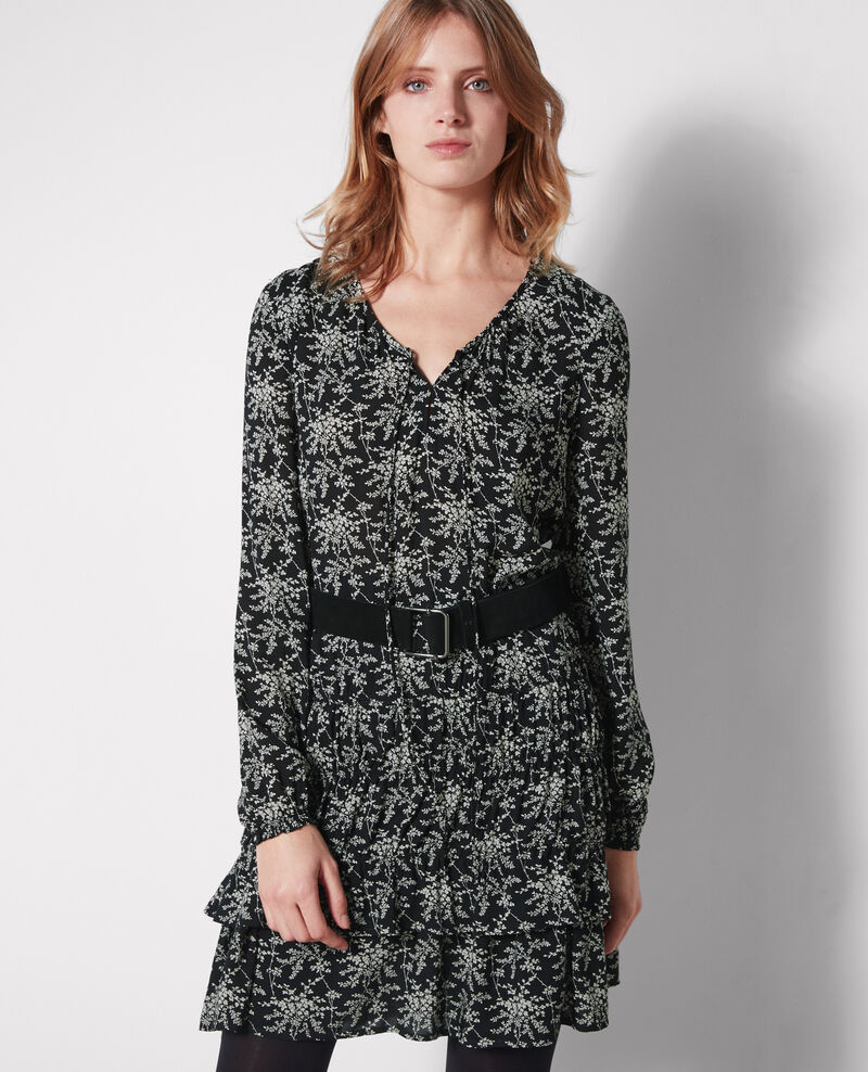 Frilly print dress Romantic garden black Cachou