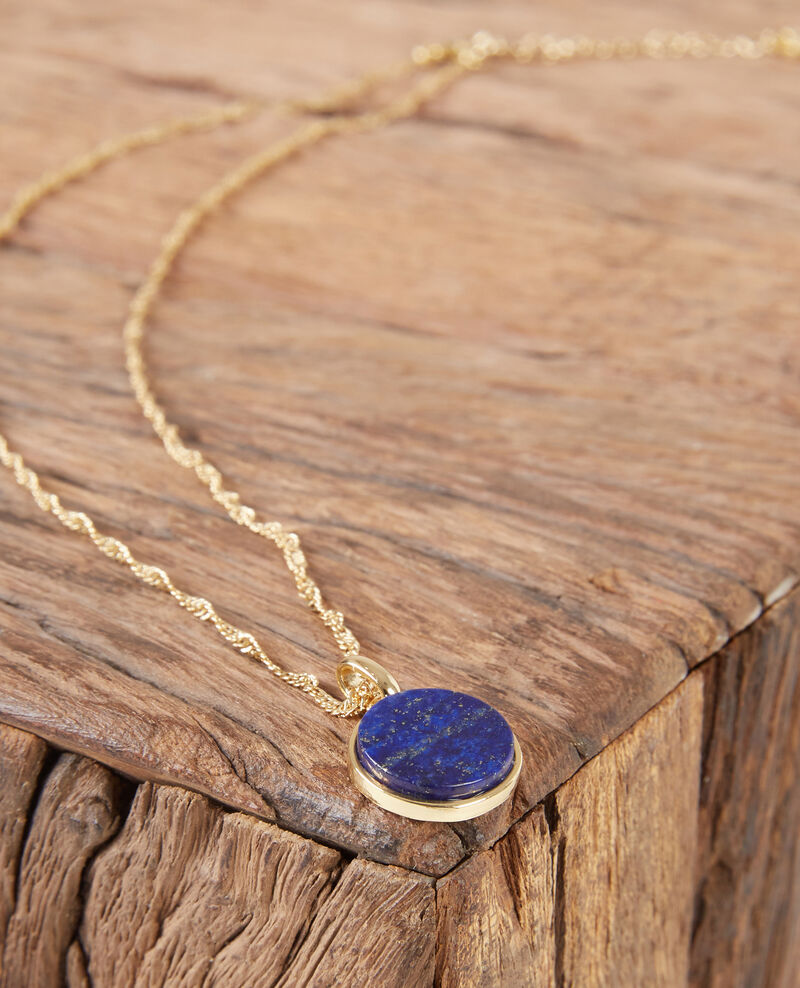 Necklace with round lapis lazuli pendant Gold/sapphire Ducharms