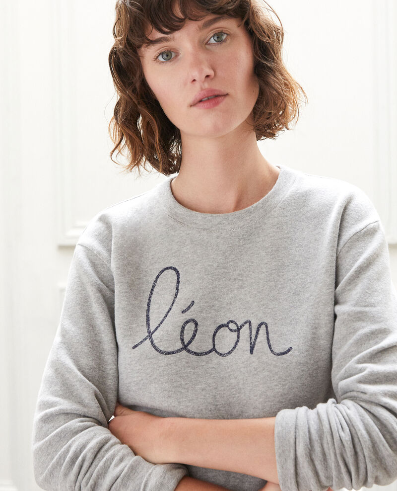 Embroidered Léon sweatshirt CHINE GREY/PEACOAT