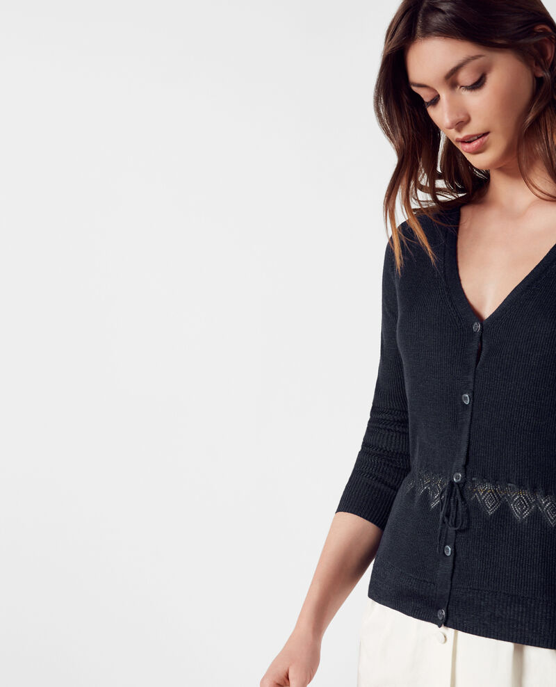 Linen and cotton fine-ribbed knit cardigan Midnight Carigno