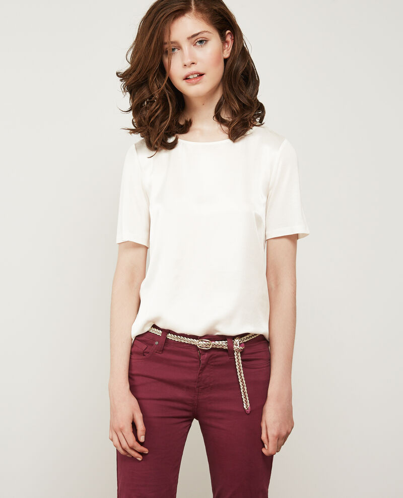 Silk panelled t-shirt OFF WHITE