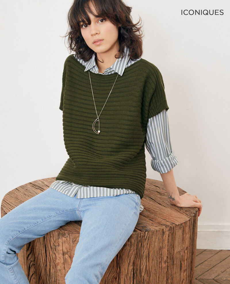 Short-sleeved seamless ribbed knit jumper LAUREL GREEN