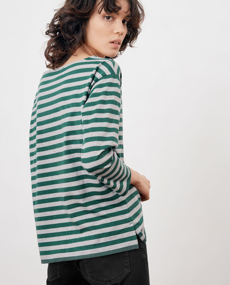 Striped t-shirt Green/heather grey Ditoc