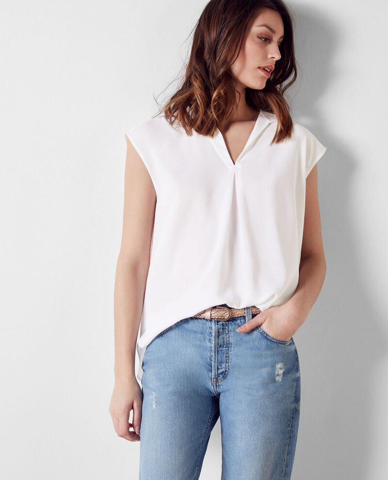 Loose, sleeveless blouse Off white Crunch